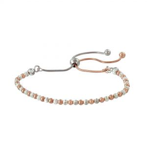 Two-Tone Sterling Silver Diamond-Cut Beaded Bolo Bracelet