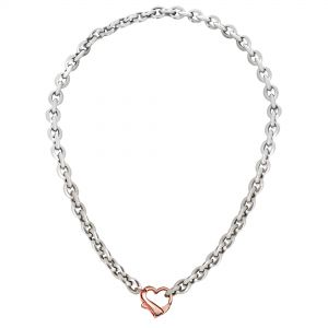 """Italian Sterling Silver Pink Heart Clasp Link Necklace, 17"""""""