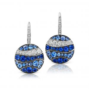 Wave Pave Sapphire and Diamond Disk Earrings