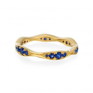 Wave Yellow Gold Narrow Eternity Sapphire Band