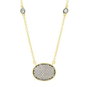 Signature Pave Oval Disc Pendant, Gold & Black