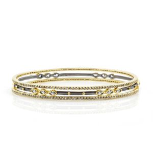 Signature Marquise Station 3-Stack Bangles, Gold & Black