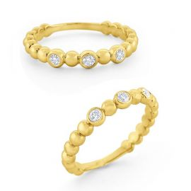KC Designs 14k Gold and Diamond Bubble Stack Ring