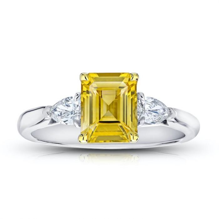 8e90aba4a9a49a 2.17 carat Emerald Cut Yellow Sapphire and Diamond Ring