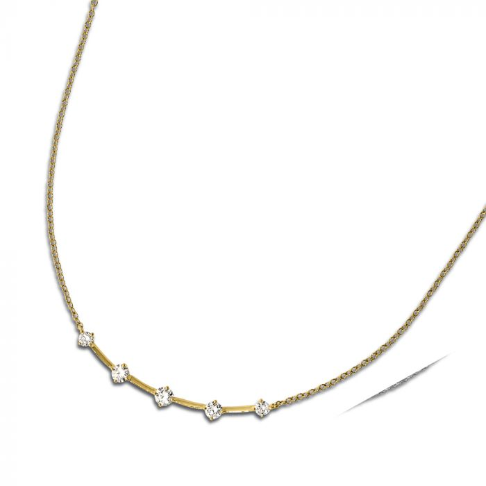 faf87d3746bdb 18k Yellow Gold And 5-Stone Diamond Necklace N7610Y