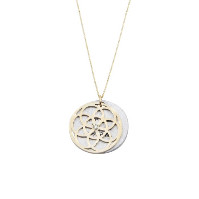 SEED OF LIFE Necklace 1 9cm 14K with Diamond Article22