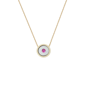 Birthstone Necklace July Ruby Yellow Gold 14K