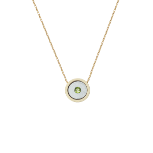 Birthstone Necklace August Green Peridot Yellow Gold 14K