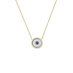 Birthstone Necklace September Sapphire Yellow Gold 14K