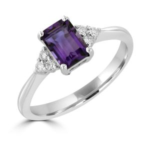Amethyst And Diamond Ring Set In 14k White Gold