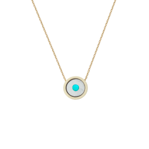Birthstone Necklace December Turquoise Yellow Gold 14K