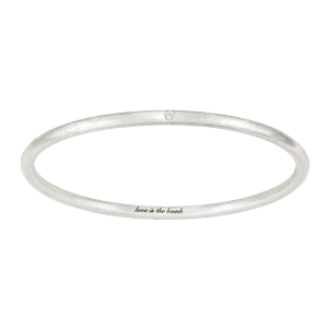 Love Is The Bomb 1 Stone Diamond Bangle (Exterior Engraving)
