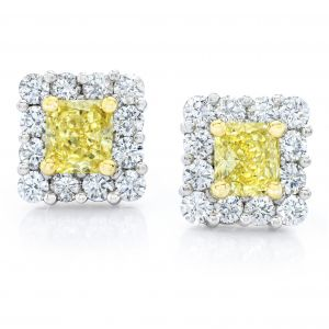 Natural Fancy Yellow Diamond Earrings 1.18 carats