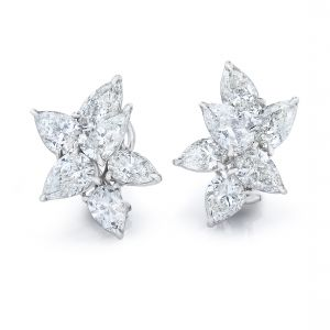Magnificent Cluster Pear Shape Diamond Earrings