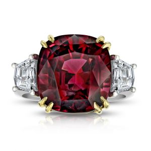 18.37 Carat Cushion Red Spinel and Diamond Ring
