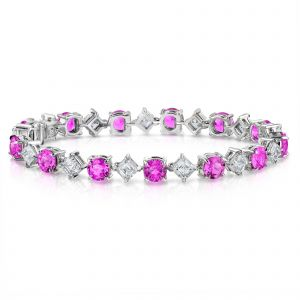Pink Sapphire and Diamond Platinum Bracelet David Gross