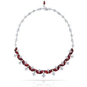 29.30 Carat Marquise Red Ruby and Diamond Necklace