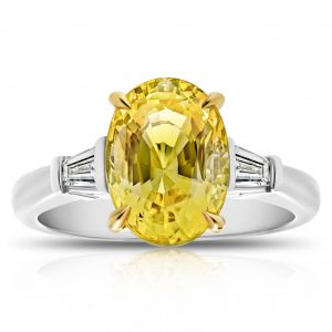 4.95 Carat Oval Yellow Sapphire Ring
