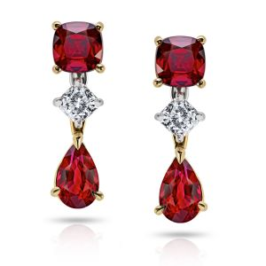 Pear shape and Cushion Cut Ruby Drop Earrings