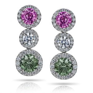 Green and Pink Sapphire Diamond Drop Earrings
