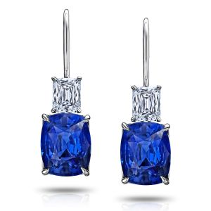 Blue Cushion Sapphire and Diamond Drop Earrings