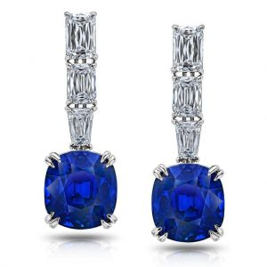 11.94 Carat Blue Cushion Sapphire and Diamond Drop Earrings