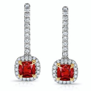 Ruby and Diamond Halo Drop Earrings with 1.07 ct Ruby