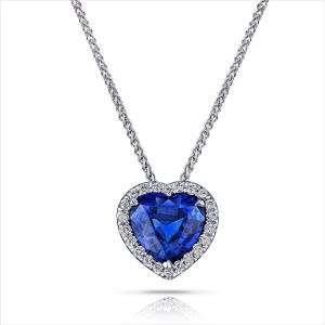 1.68 Carat Blue Heart Shape Sapphire and Diamond Pendant