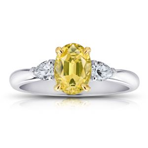 1.66 Carat Oval Yellow Sapphire And Diamond Ring