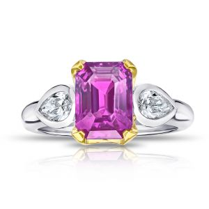 4.04 Carat Emerald Cut Pink Sapphire and Diamond Ring