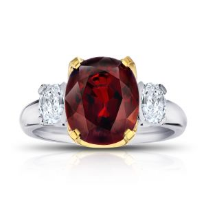 5.19 Carat Cushion Red Spinel and Diamond Ring