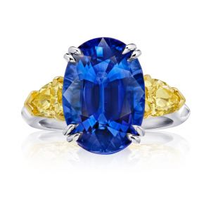 9.08 Carat Oval Blue Sapphire and Fancy Yellow Diamond Ring