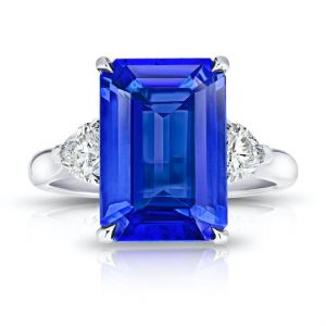 6.29 Carat Emerald Cut Blue Tanzanite and Diamond Ring