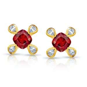 1.08 carat Cushion Red Ruby and Diamond Earrings