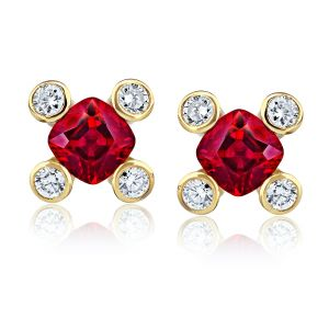 .90 carat Cushion Red Ruby and Diamond Earrings