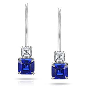 2.00 Carat Blue Ascher Cut Sapphire and Diamond Earrings