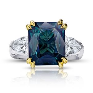 7.70 Carat Green Radiant Cut Sapphire and Diamond Ring