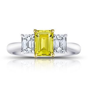 1.37 Carat Emerald Cut Yellow Sapphire and Diamond Ring