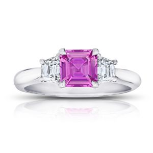 1.24 Carat Asscher Cut Pink Sapphire and Diamond Ring