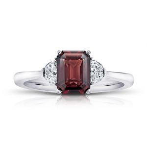 2.08 Carat Emerald Cut Reddish Brown Sapphire and Diamond Ring