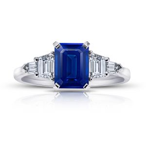 2.25 Carat Emerald Cut Blue Sapphire and Diamond Ring