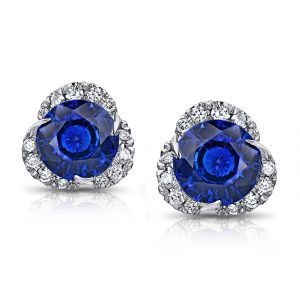 3.30 Carat Round Blue Sapphire and Diamond Halo Platinum Earrings