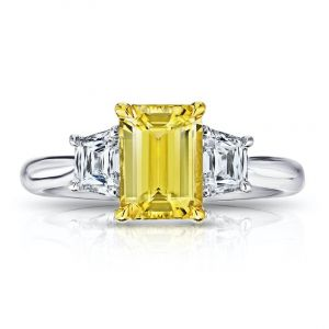2.05 Carat Emerald Cut Yellow Sapphire and Diamond Ring