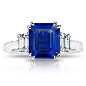 4.86 Carat Emerald Cut Blue Sapphire and Diamond Ring