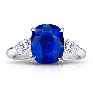 5.55 Carat Cushion Blue Sapphire and Diamond Ring