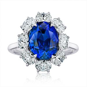 5.73 Carat Oval Blue Sapphire and Diamond Ring