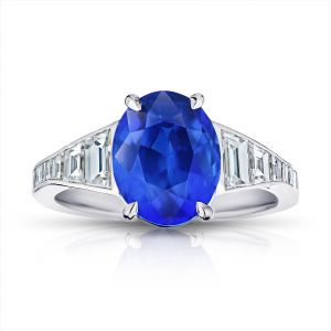 4.91 Carat Oval Blue Sapphire and Diamond ring