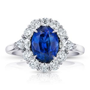 3.12 Carat Oval Blue Sapphire and Diamond Ring