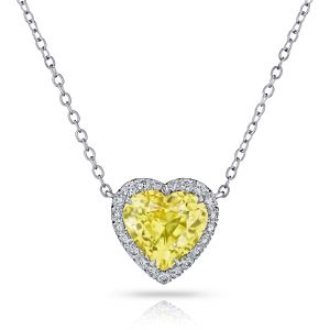 4.89 Carat Heart Shape Yellow Sapphire and Diamond Pendant