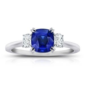 2.11 Carat Cushion Blue Sapphire and Diamond Ring